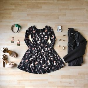 Talula dark floral skater dress with long sleeves